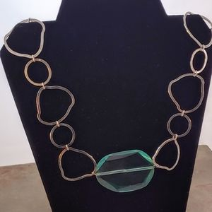 Jewelry - Large Faceted Glass Bead Organic Chain Necklace